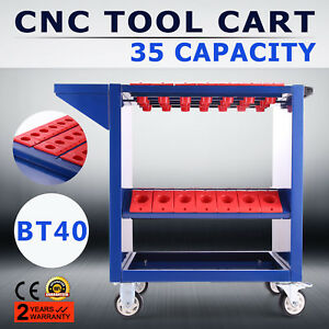 Bt40 Cnc Tool Trolley Cart Holders Toolscoot Workstation 4 Wheels 35 Capacity