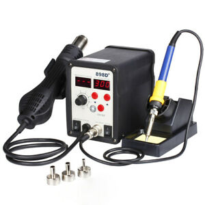 Smd Rework Soldering Lcd Digital Station Hot Air Gun Solder Iron Welder