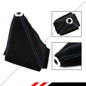 Black Suede Manual Shift Shifter Boot Cover With Blue Stitching For Honda