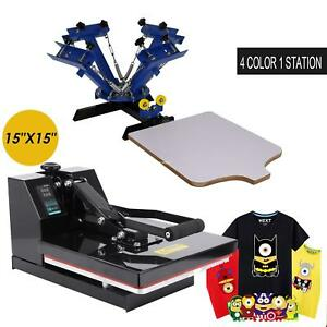 15x 15 T shirt Digital Heat Press Transfer Machine 4 Color 1 Station Silk Screen