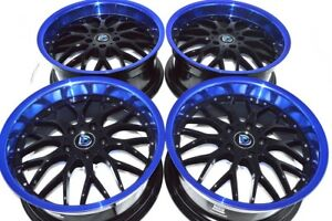 4 New Ddr R6 18x8 5x114 3 35mm Black Blue Lip Wheels Rims
