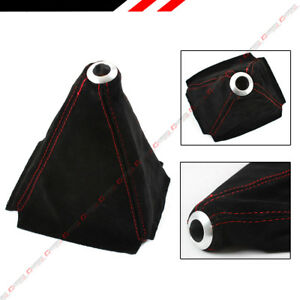 Universal Black Suede Manual Shift Shifter Boot Cover With Red Stitching