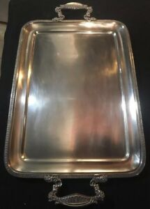 Fine Large 800 Silver Twin Handled Tea Tray Italian 91 8 Toz 26 25 Inch Sterling
