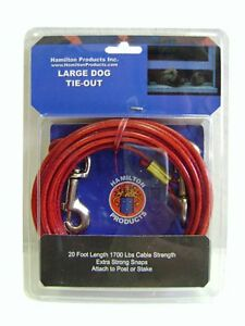 Hamilton 20 feet Dog Tie Out Plastic Coated Cable Large