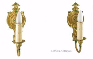 Pair Antique French Style Brass Wall Sconces Painted Floral Details
