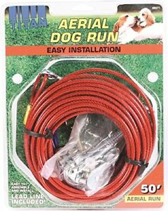 Titan Aerial Dog Run Dog Trolley Tie Out Cable System 50 Feet