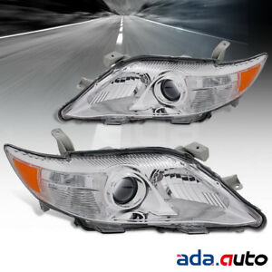 Fit 2010 2011 Toyota Camry Projcetor Chrome Replacement Headlights Pair
