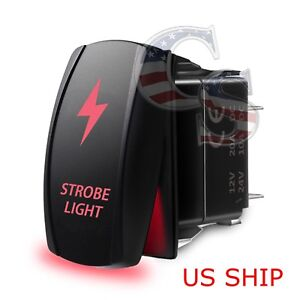 Red Laser Etched Led Strobe 12v 20a 10a 5 Pin Rocker Toggle Switch Car Boat