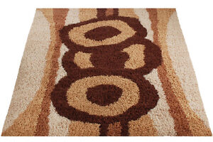 Mid Century Danish Modern Rya Style Shag Rug Abstract Mod Area Carpet 8x10