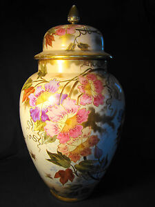 Outstanding Royal Bonn Floral Urn Shape Vase Cover 19 H C1888 1920