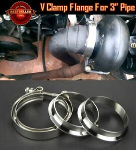 T304 Stainless V Band Clamp Flange Assembly Kit For Nissan 3 Od Exhaust Pipe