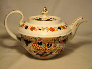 Early English Imari Porcelain Teapot Cover Late 18th Early 19th C