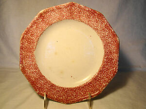 Staffordshire Spatterware Red Spatter Ware Plate 8 5 8 C Early 19th Century