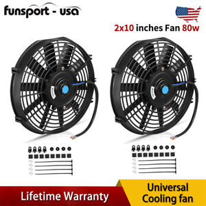 2x10 Universal Slim Fan Push Pull Electric Radiator Cooling 12v For Chevrolet
