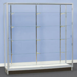 Metal Framed Tower Showcase Glass Back 60 Wide Trophy Display Knockdown New