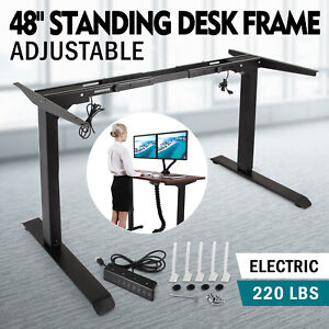 Electric Standing Desk Frame Sit Stand Table Black Adjustable Home Office Hot