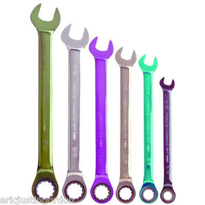 6 Pc Sae Color Combination Ratcheting Wrench Set