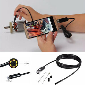 5v Car 7mm 10m 2 In 1 Usb Inspection Camera Hd 6 Led Endoscope Borescope Android