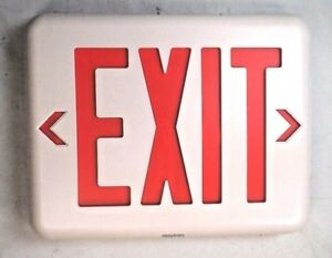 Dual Lite Eveurwe Led Emergency Exit Sign Single Face Red Letters Nib New