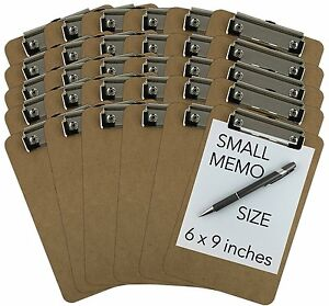 Trade Quest Memo Size 6 X 9 Clipboards Low Profile Clip Hardboard 30 Pack