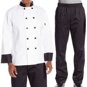 Dickies Chef Bundle Pack Contrast Classic Chef Coat Elastic Waist Chef Pants