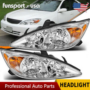 For 2002 2004 Toyota Camry Chrome Headlights Headlamps Assembly Replacement Pair