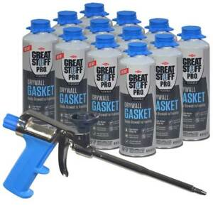 Great Stuff Pro Kit 12 Cans 18 Oz Flexible Drywall Gasket With Latex Foam Gun