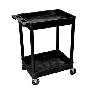 Rolling Utility Tub Cart Rectangular Plastic 2 shelves 4 casters wheels Black