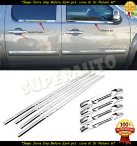 For 2007 14 Chevrolet avalanche suburban Chrome Window Sills 4dr Handle Covers