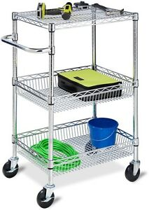 Utility Cart Rolling Wheel Portable Organizer Stainless Steel 3 Tier Shelves New