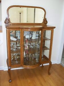 Antique Tiger Oak Curved Glass Curio China Cabinet W Mirror Excellent Condition
