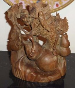 Antique Elaborate Japanese Hand Carved Wood Birds Fruits Tree Sculpture