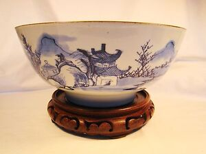 Chinese Export Porcelain Blue White Brown Edge Punch Bowl Late 18th Century