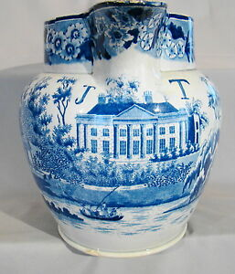 Large Antique Staffordshire J T Manor House Blue Transfer 4 Qt Pitcher 1800 1830