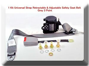 1 Kit Universal Strap Retractable Adjustable Safety Seat Belt Grey 3 Point