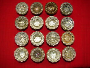 16 Vintage Glass 12 Point With Star Center Door Knobs W Brass Backs
