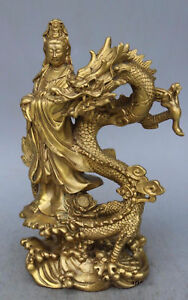 China Brass Dragon Kwan Yin Guanyin Goddess Buddha Statue