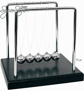 Powertrc Newtons Cradle Balance Balls 7 1 4 Black Wooden Base