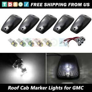 5pc Smoke Roof Cab Marker Light T10 White Led Kit For 1990 2009 Gmc Chevy Truck