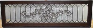 Antique Victorian Leaded Clear Beveled With Jewels Transom Window