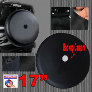 Universal Spare Tire Cover 31 33 Black Plain With Rearview Backup Camera Bezel