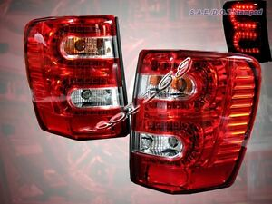 99 04 Jeep Grand Cherokee Led Tail Lights Red Pair 1999 2000 2001 2002 2003 2004