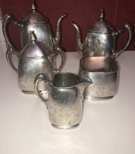 Antique Reed Barton Silverplate 5 Piece Coffee Tea Set 3048