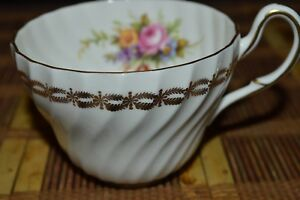 Eb Co Foley China Hand Painted Floral Inside Outer Gold Ring Tea Cup