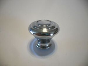 Vintage Nos 1 1 8 Chrome Cabinet Knobs Double Concentric Ring Drawer Pull Brass