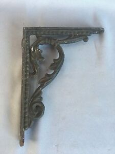 One Antique Cast Iron Shelf Brackets Leafy Decorative Old Vtg Hardware 330 17j