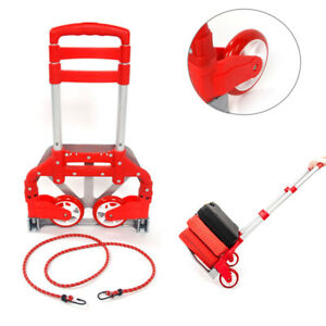 170lbs Portable Folding Collapsible Aluminum Cart Dolly Push Truck Trolley Red