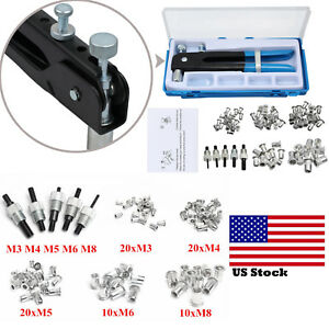 86pcs Car M3 m8 Threaded Nut Rivet Insert Tool Nut Riveter Rivnut Nutsert Kit Us