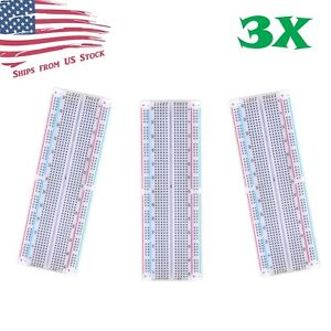 3x Mb 102 830 Point Prototype Pcb Solderless Breadboards Protoboards 3pcs Us
