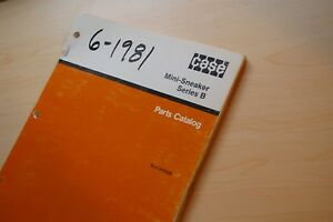 Case Mini Sneaker Series B Trencher Ditcher Spare Parts Manual Book Catalog List